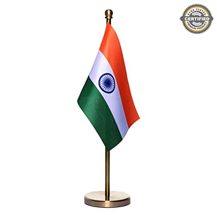amazon com indian miniature table flag with a classy brass base