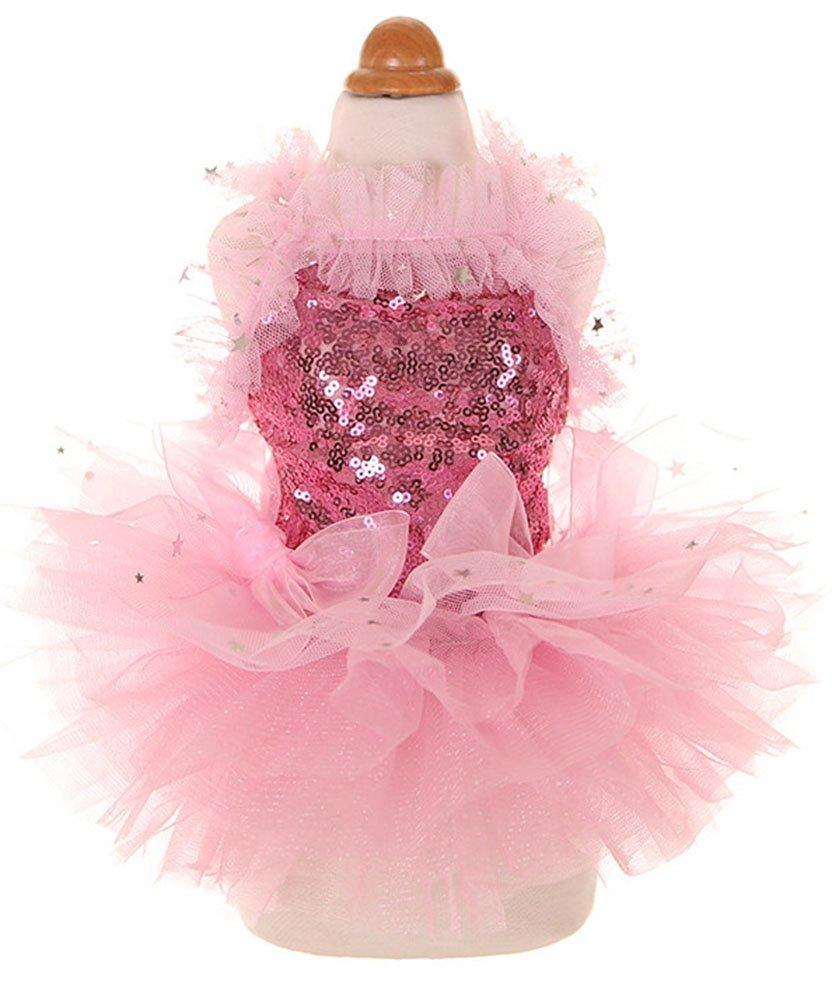 MaruPet Fashion Sweet Puppy Dog Blingbling Princess Skirt Pet Dog Lace Cake Camisole Tutu Dress Pink L