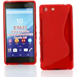 Kit Me Out UK TPU Gel Case for Sony Xperia M5 / M5 Dual Sim - Red S Line Wave