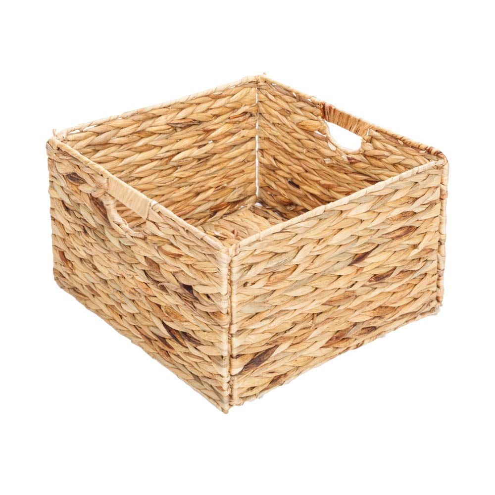 Folding Storage Basket,Natural Water Hyacinth Box, Wood Color