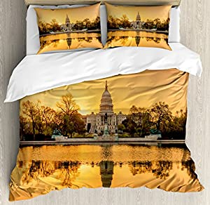 United States Queen Size Duvet Cover Set by Ambesonne, Washington DC American Capital City White House above the Lake Landscape, Decorative 3 Piece Bedding Set with 2 Pillow Shams, Apricot Ginger