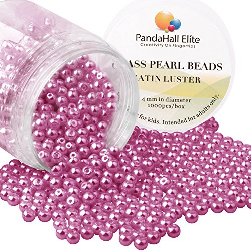 Cerise Jewelry - PH PandaHall About 1000 Pcs 4mm TTiny Satin Luster Glass Pearl Bead Round Loose Spacer Beads for Jewelry Making Deep Cerise