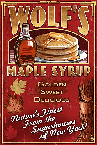 Wolf's Maple Syrup Vintage Sign - New York (24x36 SIGNED Print Master Giclee Print w/Certificate of Authenticity - Wall Decor Travel Poster)