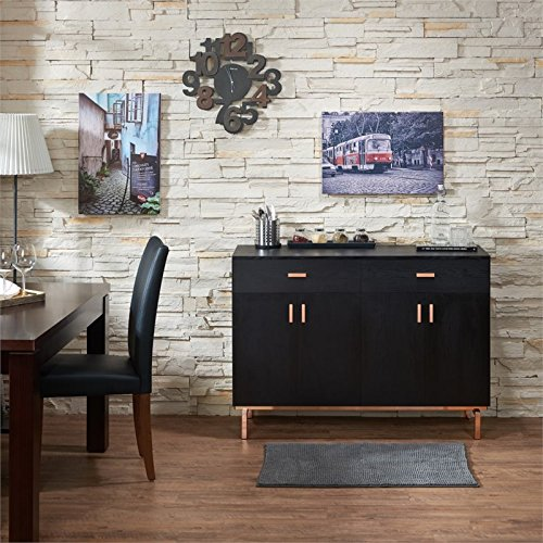 BOWERY HILL 2 Drawer Buffet Table in Black