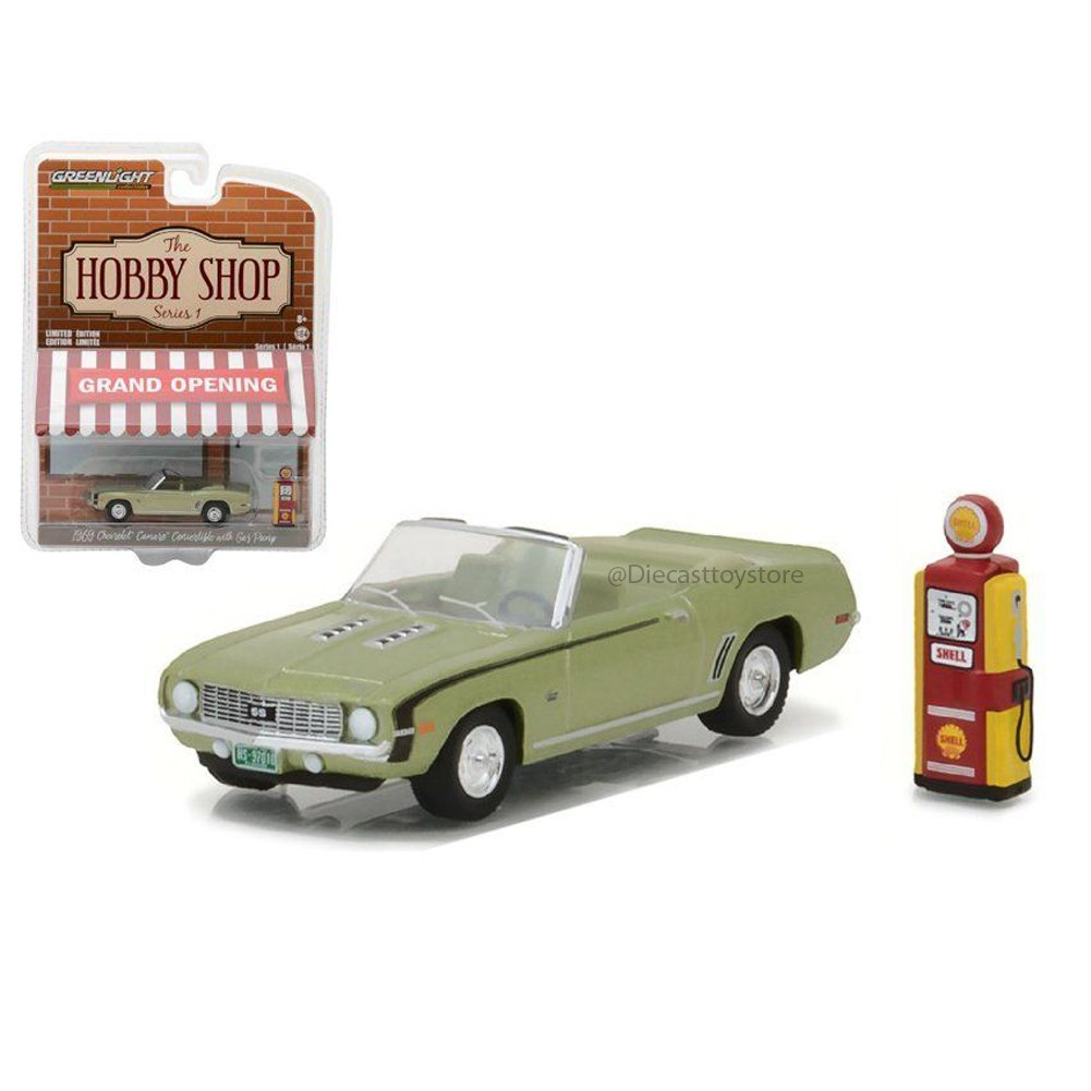 1969 Chevrolet Camaro Convertible Green with Vintage Gas Pump The Hobby Shop Series 1 1/64 Diecast Model Car by Greenlight 97010 B