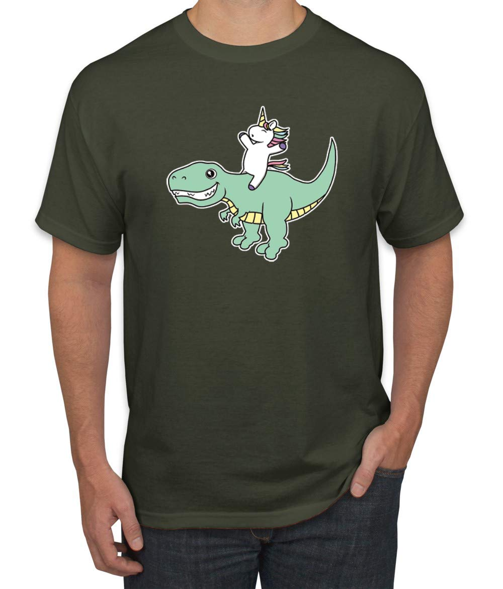 Cute Unicorn Riding Dinosaur Mens Humor Graphic Shirts