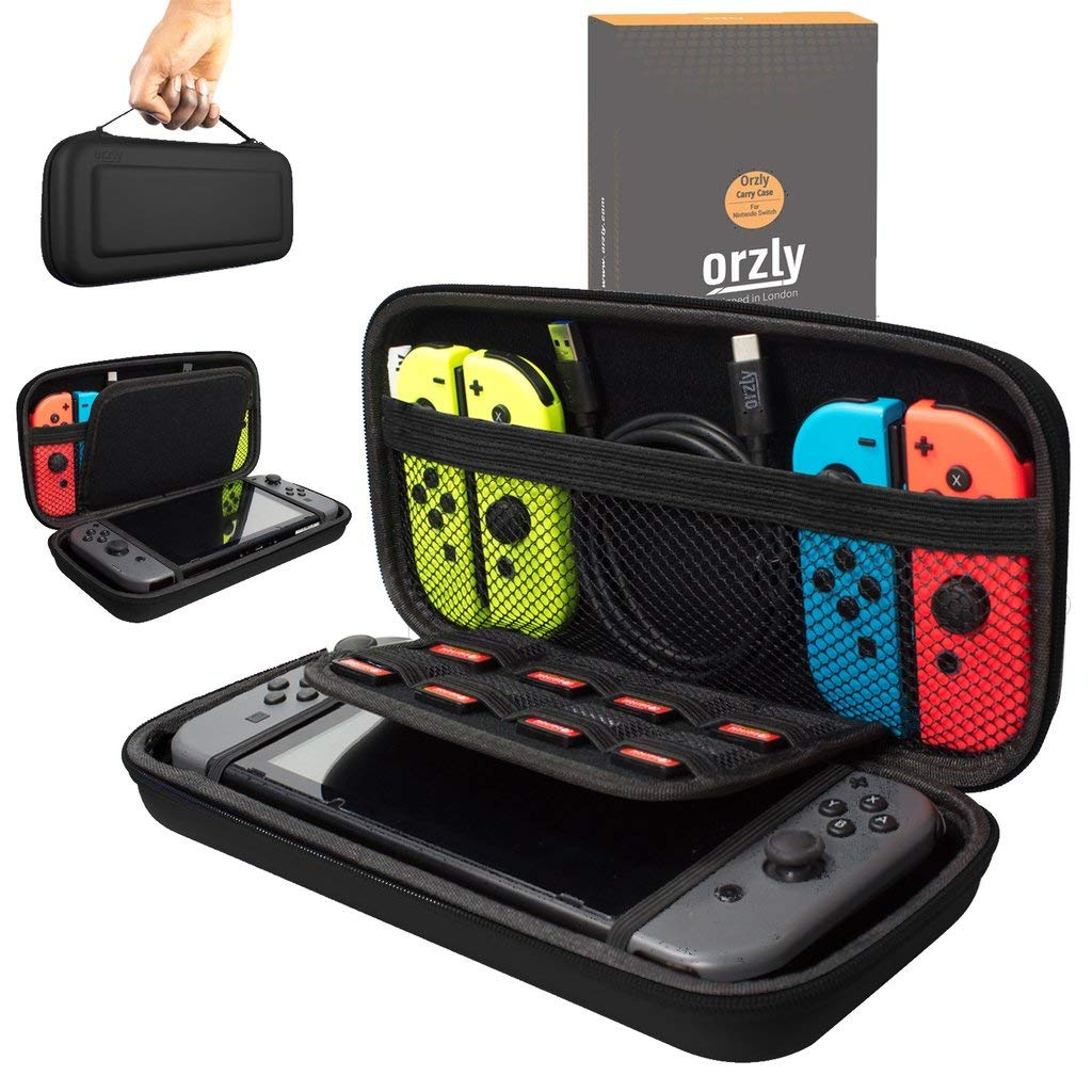 Orzly Carry Case Compatible With Nintendo Switch - BLACK Protective Hard Portable Travel Carry Case Shell Pouch for Nintendo Switch Console & Accessories product image