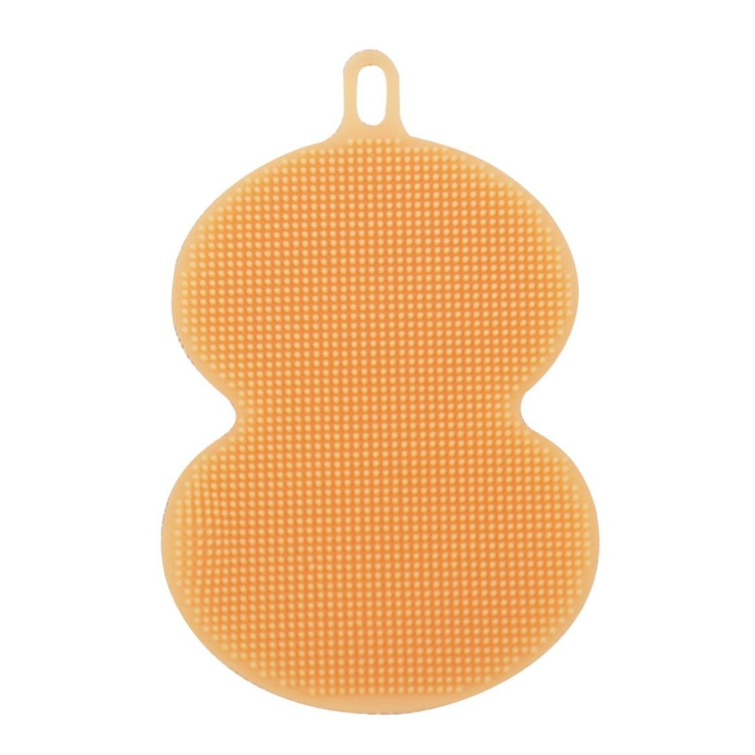 Susenstone Antibacterial Silicone Cleaning Brush Pad Dish Fruit Scrubber Kitchen Clean Tool (green) Susenstone_1336