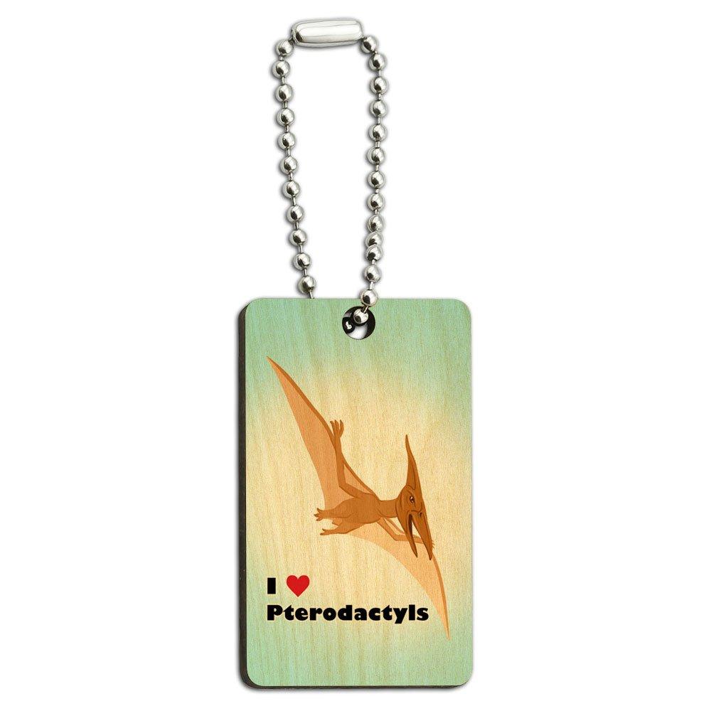 I Love Heart Pterodactyl - Dinosaur Wood Wooden Rectangle Key Chain