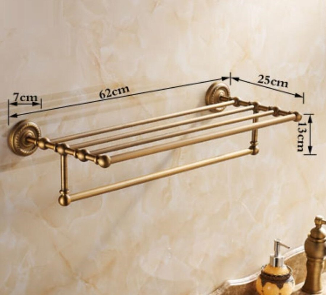 GL&G European retro Towel Holders Gold luxury Wall-Mounted Towel Racks for Bathroom Storage & Organization Shelf Home Decoration 62cm,B by GAOLIGUO (Image #7)