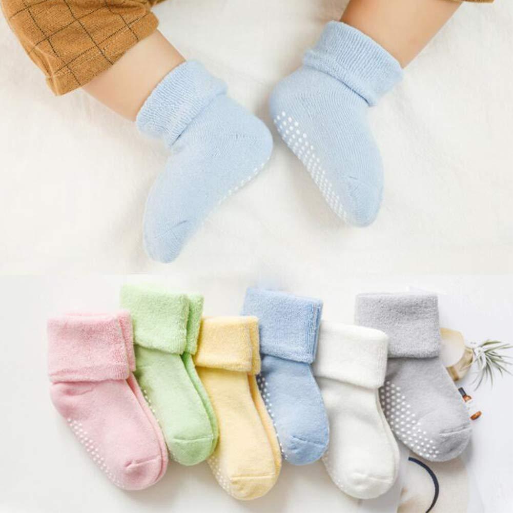 6 Pairs Baby Anti Slip Socks Girls Thick Cotton Unisex Floor Socks with Grips