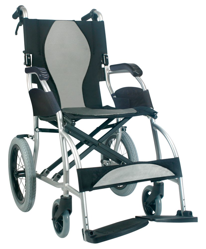 Karman Healthcare S-2501 Ergonomic Ultra Lightweight Transport Chair, Pearl Silver, 16 Inches Seat Width