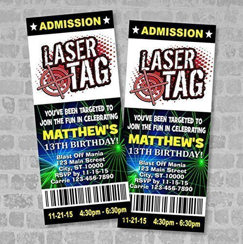 Amazon.Com: Laser Tag Birthday Party Ticket Invitation, Custom