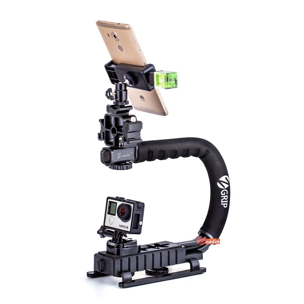 Zeadio Handheld Stabilizer Upgrade Version Combo, with Metal Triple Hot-Shoe+360° Swivel Adapter+Quick Release Buckle Plate+Smartphone Holder Clip+Three-Dimensional Level+1/4 bi-Directional Screw
