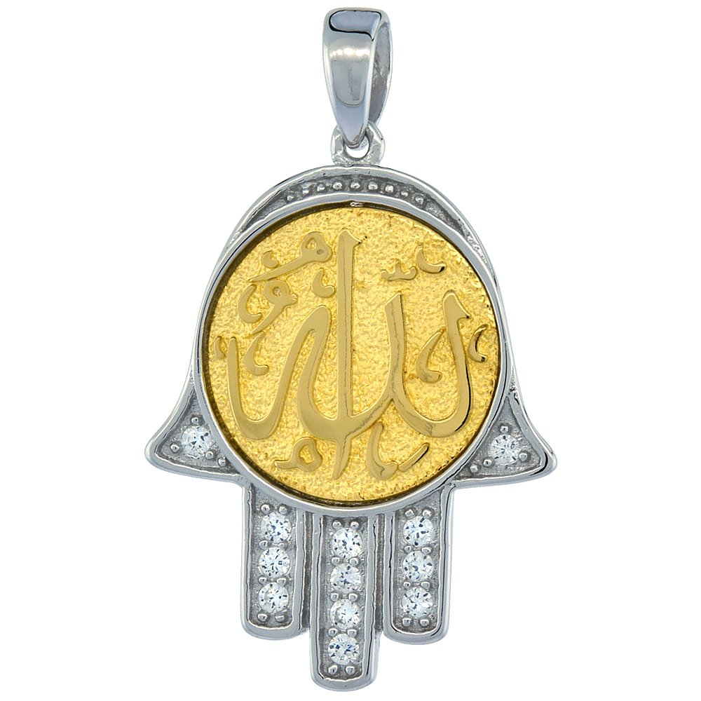 13//16 inch long Sterling Silver ALLAH Gold-plated CZ Islamic Pendant
