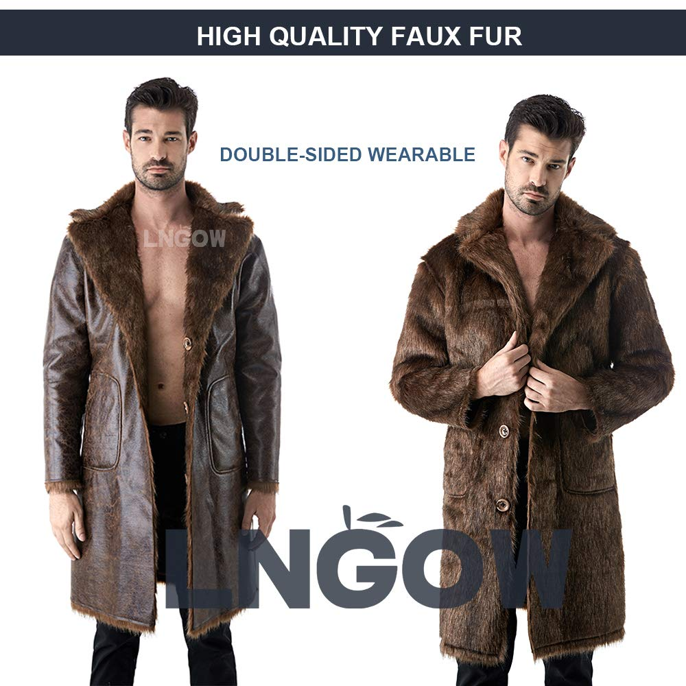 328389e3ddb Amazon.com  LNGOW Winter Warm Coat for Men Faux Fur Long Outerwear Overcoat  Jacket Double-Sided Wearable  Clothing