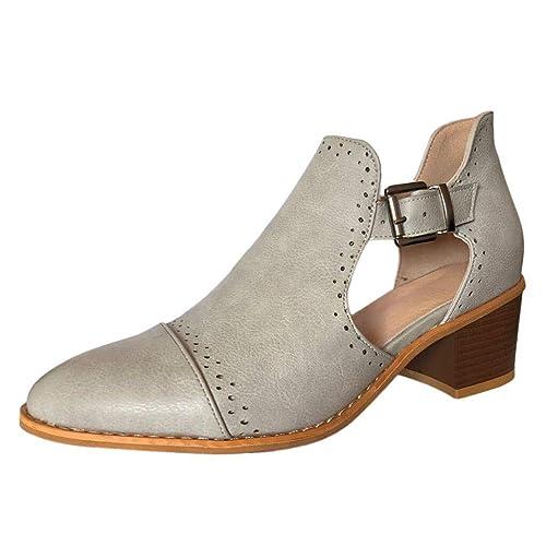 Zapatos de Punta Redonda para Mujer Primavera Botines de Tacón Alto Hueco Solos 2019 Trabajo Uniforme Weekend Chelsea Tacón Contraste: Amazon.es: Zapatos y ...