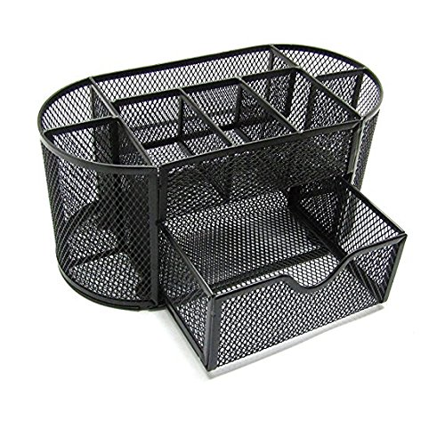 Space Saving Black Metal Wire Mesh 8 Compartment Office/School Supply Desktop Organizer Caddy with Drawer