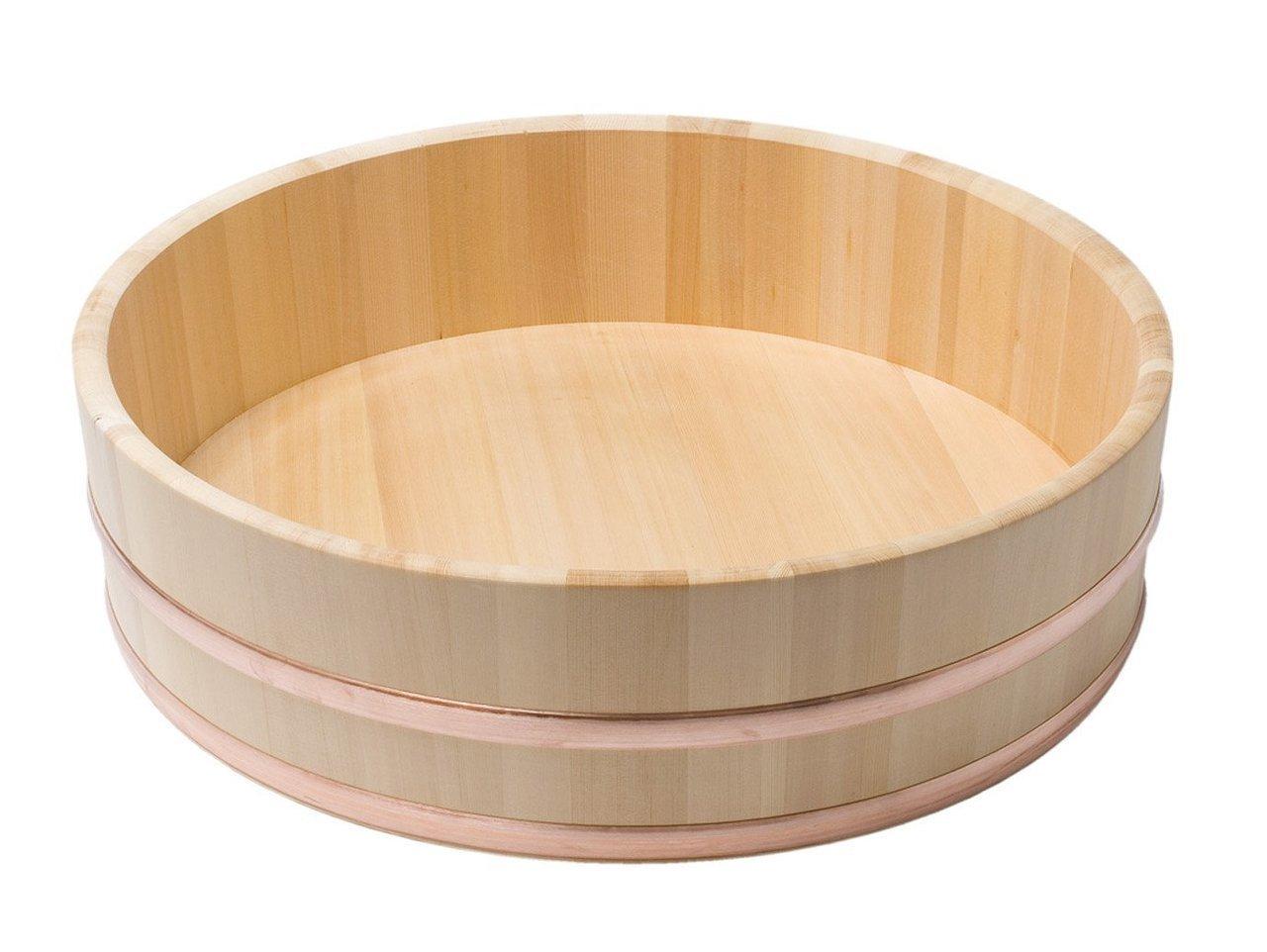 JapanBargain S-4085, Japanese Sawara Cypress Wooden Sushi Oke Hangiri Mixing Bowl, 45 cm