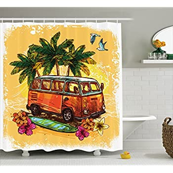 Surf Decor Shower Curtain Set By Ambesonne Hippie Classic Old Bus With Surfboard Freedom Holiday Exotic Life Sketch Style Art Bathroom Accessories