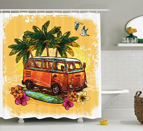 Surf Shower Curtain by Ambesonne, Hippie Classic Old Bus with Surfboard Freedom Holiday Exotic Life Sketchy Art, Fabric Bathroom Decor Set with Hooks, 70 Inches, Yellow Orange Green