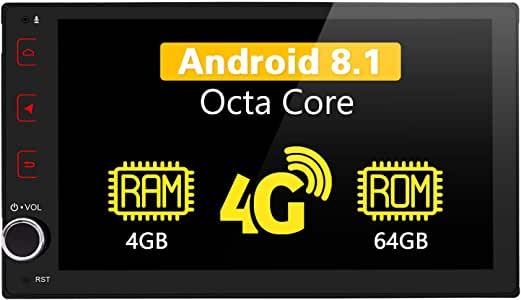 JOYING Android Car Stereo 4GB + 64GB Android 8.1 GPS Navigator with 4G SIM Card Slot - Support Android Auto/DSP/SPDIF/Fast Boot/Split Screen/Bluetooth/WiFi for Toyota Corolla 2017 2018 with Canbus