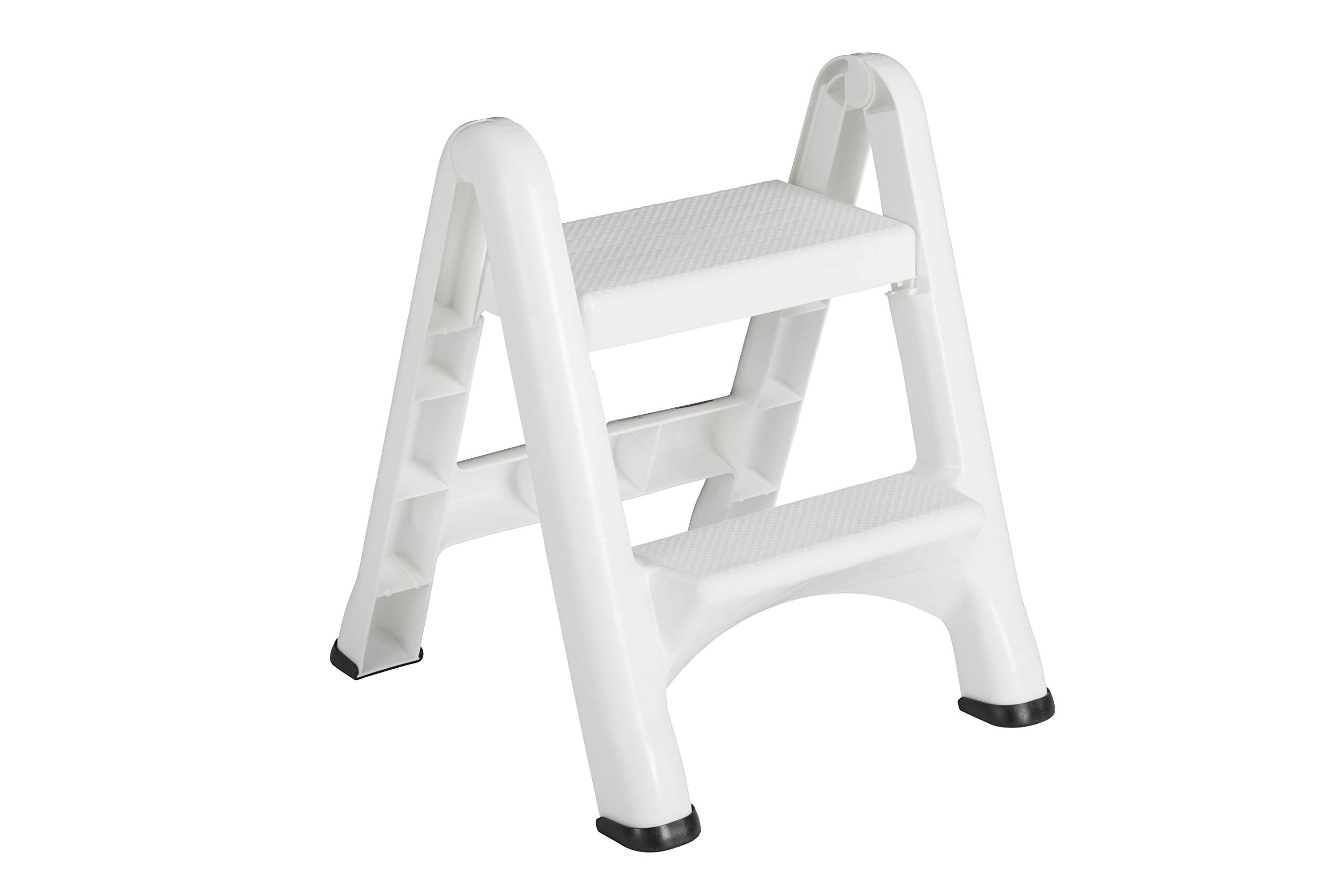 Rubbermaid Two-Step Folding Foot Stool, Small Step Stool, Step Stool for Adults, White