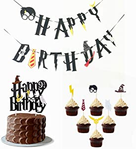 Little Magician Theme Happy Birthday Banners Cake Topper Suit Hogwarts Lightning Felt Flags Bunting for Baby Birthday Party Hanging Decoration (Multicolor)