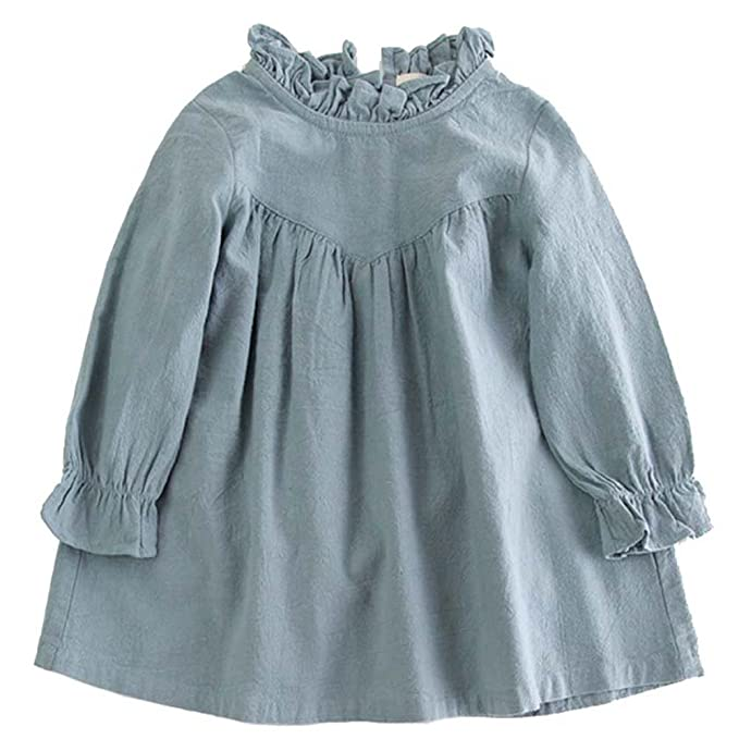 1e04d463c6e VIYOO Children Cotton Linen Long Sleeve Girl Dresses Casual Fashion Summer  Toddler Girl Dress
