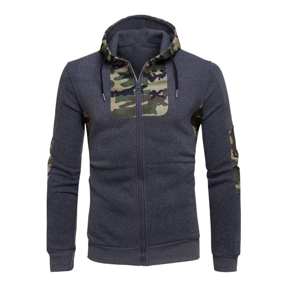 Sharemen Camouflage Hoodie Mens' Autumn Winter Slim Fit Sweatshirt Coat