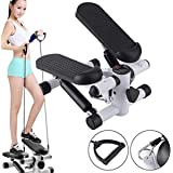 Aysis Mini Stepper,Mini Fitness Exercise Machine-Mini Elliptical Foot Pedal Stepper, Step Trainer Equipment with Resistance Bands Durable & Comfortable Foot Leg Exerciser Home Gym