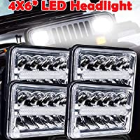 4x6 Inch LED Headlights DRL Hi&Lo Sealed Beam Light Replace H4651 H4652 H4656 H4666 H6545 for Peterbil Kenworth Freightinger Ford Probe Chevrolet Oldsmobile Cutlass, Pack of 4