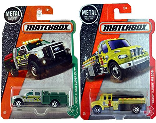 Matchbox Fire Engine 2017 #85 Freightliner M2 106 Yellow + Ford F-550 Super Duty Land Survey Team #125 in PROTECTIVE CASES