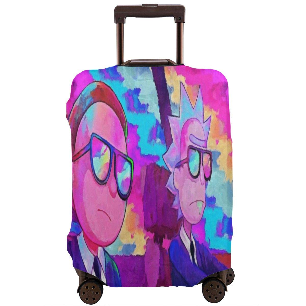 Cartoon Rick With Morty Travel Luggage Cover Suitcase Protector Fits 26-28 Inch Washable Baggage Covers