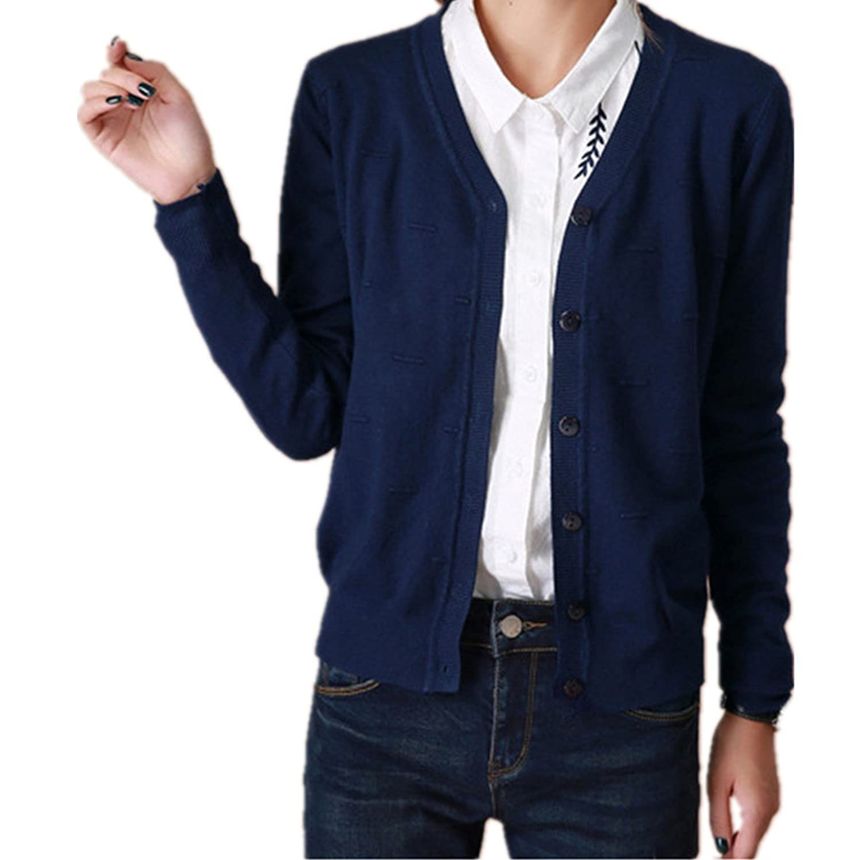 LOBTY Damen Strickjacke Cardigan Jacke Mantel Outwear Topsr Blazer Mantel Trenchcoat V-Ausschnitt Tops