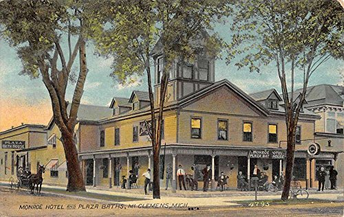 Mt Clemens Michigan Monroe Hotel Plaza Baths Antique Postcard K49484