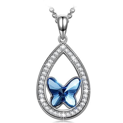 860ae2784fb4 ANGEL NINA Collar Mariposa Mujer 925 Plata con Cristales Swarovski ...