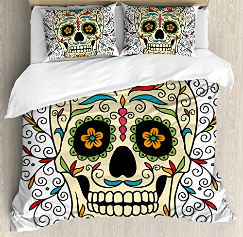 Ambesonne Sugar Skull Decor Duvet Cover Set King Size, Catrina Calavera Featured Figure Ornaments Macabre Remember The Dead Theme Art, A Decorative 3 Piece Bedding Set with 2 Pillow Shams, Multicolor]()