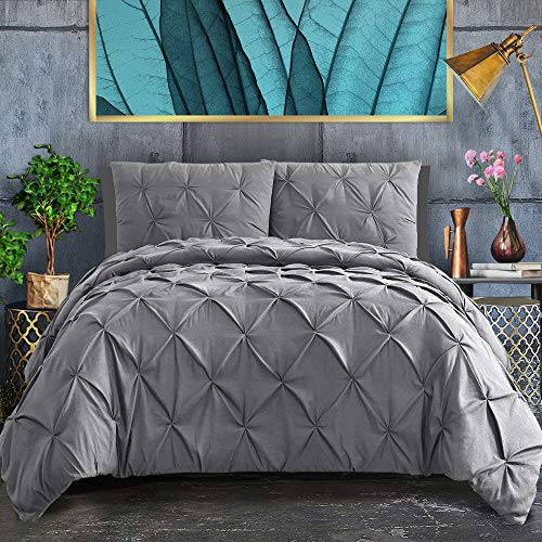 ASHLEYRIVER 3 Piece Luxurious Pinch Pleated Duvet Cover with Zipper & Corner Ties 100% 120 g Microfiber Pintuck Duvet Cover Set(King Grey)