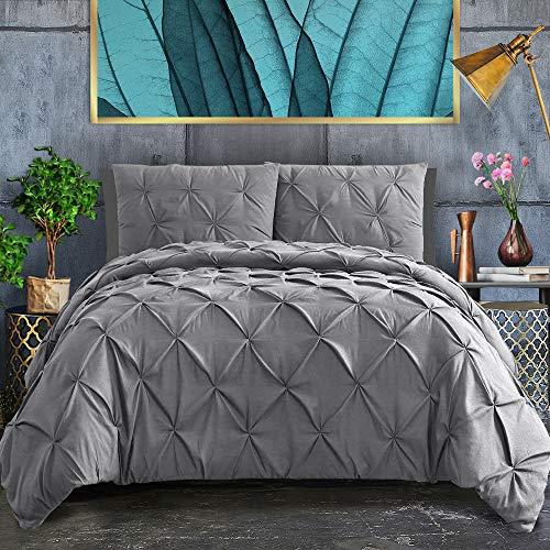 - ASHLEYRIVER 3 Piece Luxurious California King Duvet Cover with Zipper & Corner Ties 100% 120 g Microfiber Pintuck Duvet Cover Set(California King Grey)