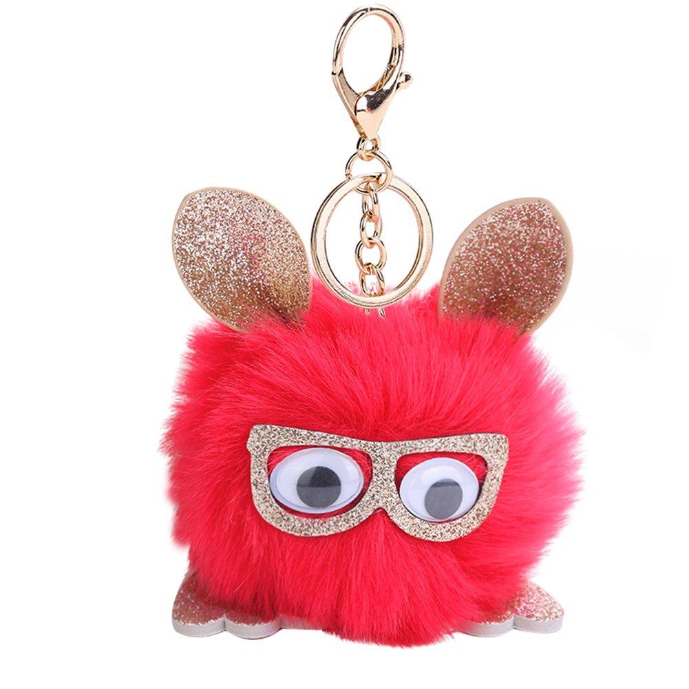 Shineweb Cute Owl Pom Pom Ball Key Chain Key Ring Keyring Keyfob Handbag Pendant Keychain Charm Light Green