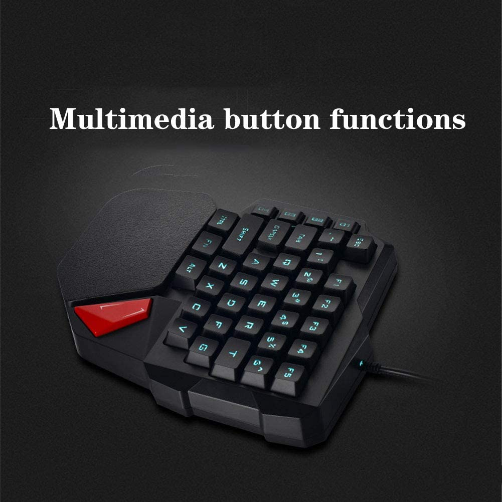 Quick Responsive Gaming Keypad with Wrist Rest USB Wired Half Keyboard for PC//Mac//Laptop WANGJIANGLI 38 Keys One Handed Mechanical Gaming Keyboard