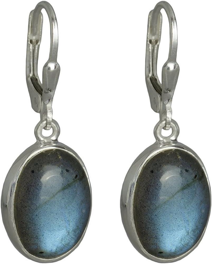 I de Be, Labradorita piedras preciosas 10x 14mm Pendientes ovalado 925Longitud de plata, 3,3cm, en estuche de regalo, 392812g KB