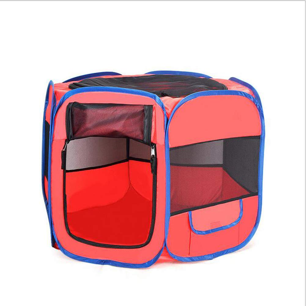 Red MediumZHENG Cat and dog outdoor cage portable car kennel folding Oxford cloth sixsided pet fence,Red,M