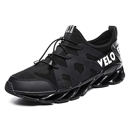 Mzq-yq Zapatillas de Running para Hombre, Zapatillas de Deporte Negras, Zapatillas Deportivas
