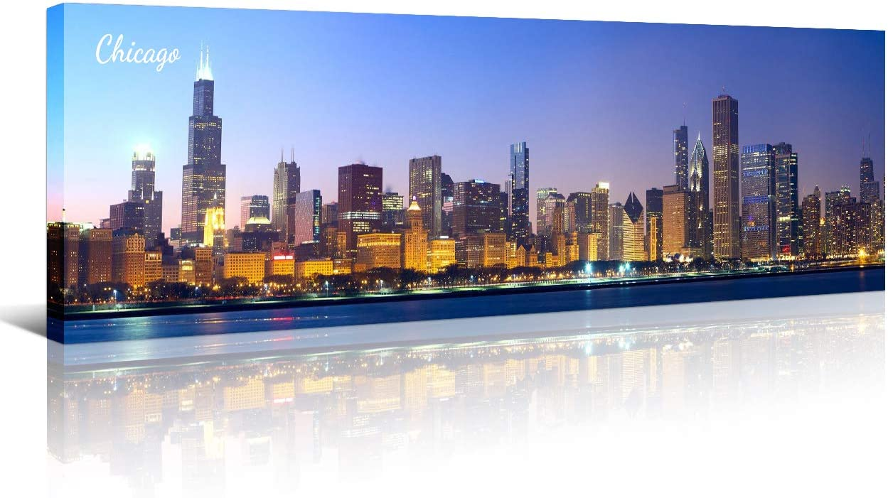 Chicago Skyline Wall Art for Living Room Cityscape Canvas Modern Home Decor Panorama Pictures City Building House Decorations Skyscraper Artwork Night View Posters and Prints 12x46 Inch 1 Panel