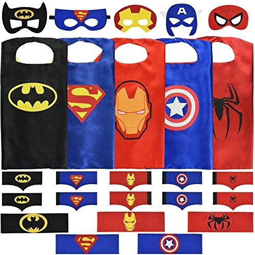 [Boys Superhero Costume Set: (5 Masks, Belts Capes and 5 sets of Bracelets)] (Quality Superhero Costumes)