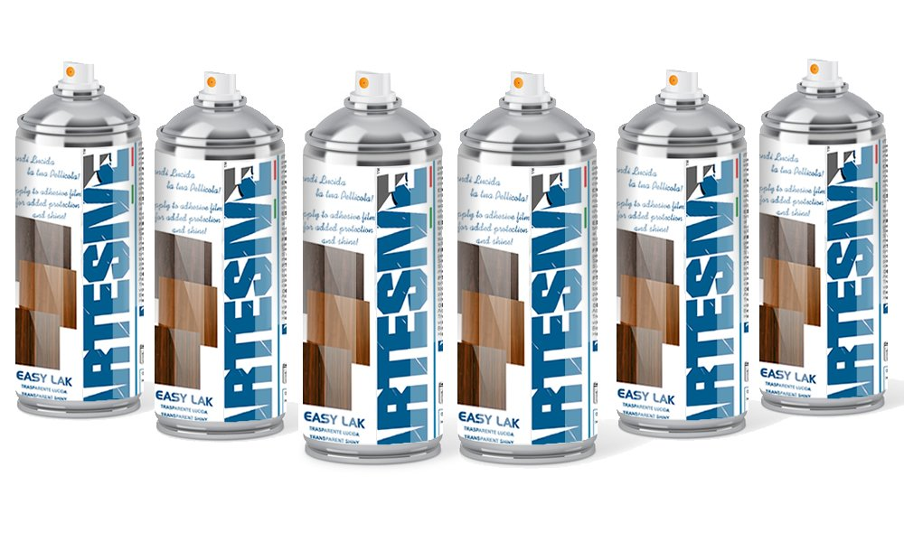 Artesive Easy Lak Kit 6 x 400ml. - Spray Acrilico Trasparente Vernice per effetto Lucido