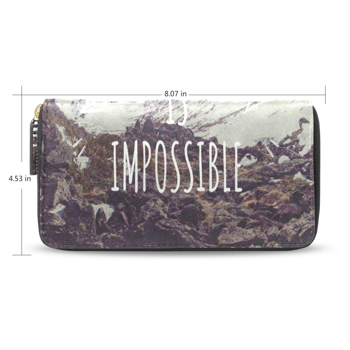 Womens Wallets Educational Quote Mountain Landscape Nature Leather Passport Wallet Coin Purse Girls Handbags