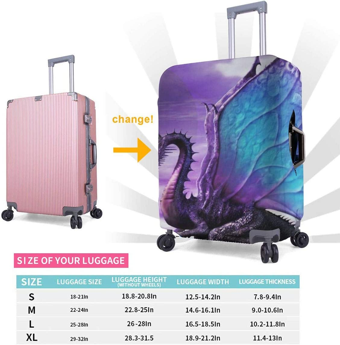 Purple Fly Dragon Elastic Travel Luggage Cover,Double Print Fashion Washable Suitcase Protector Cover Fits 18-32inch Luggage